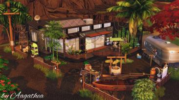 "The Sims 4 ""Жилой дом 30x20 - Hut under Volcano"""