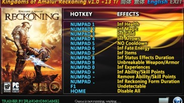 Kingdoms of Amalur - Reckoning: Трейнер/Trainer (+13) [1.0] {FLiNG}