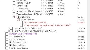 Darkest Dungeon: Таблица для Cheat Engine [Build 25546] {koderkrazy}