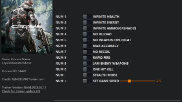 Crysis Remastered: Трейнер/Trainer (+12) [1.0 - 2.0] {FLiNG}