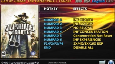 Call of Juarez - The Cartel: Трейнер/Trainer (+7) [All Versions: 1.0 and Others] {FLiNG}