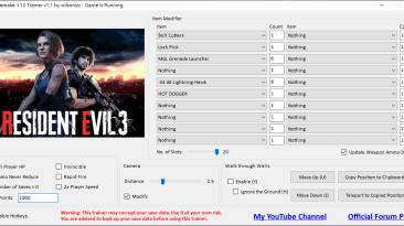 Resident Evil 3: Трейнер/Trainer (+13) [1.1] {wilsonso}