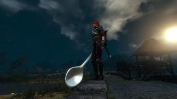 Моддер добавил в The Witcher 3 огромную ложку - её можно использовать вместо оружия