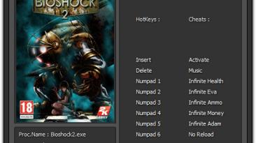 BioShock 2: Трейнер/Trainer (+6) [1.5.0.019] {Cemi4ka}