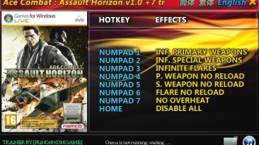 Ace Combat - Assault Horizon: Трейнер/Trainer (+7) [1.0] {FLiNG}