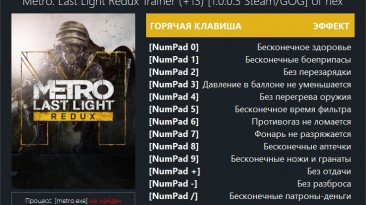 Metro: Last Light - Redux: Трейнер/Trainer (+13) [1.0.0.3 Steam/GOG] {hex}