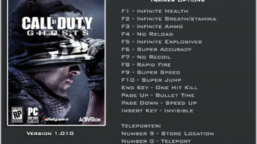 Call of Duty ~ Ghosts: Трейнер/Trainer (+16) [1.0.0.1] {LinGon}