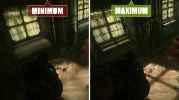 """Gears of War - Ultimate Edition """"Сравнение графики на PC. Минимальные настройки с максимальными настройками"""""""