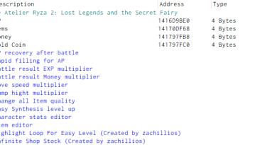 Atelier Ryza 2: Lost Legends & the Secret Fairy: Таблица для Cheat Engine [UPD: 29.01.2021] {DhaosCollider}