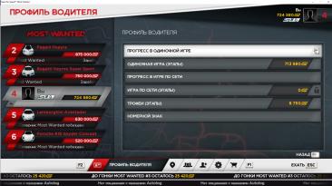 Need for Speed: Most Wanted (2012): Сохранение/SaveGame (Игра пройдена на 54%, куплены все DLC)