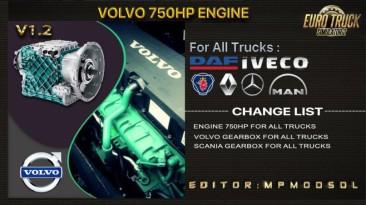 "Euro Truck Simulator 2 ""Volvo 750HP Двигатель Для Всех Грузовых Автомобилей v1.2 (v1.37.x - 1.39.x)"""