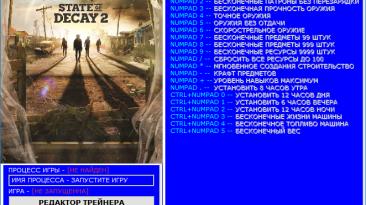 State Of Decay 2: Трейнер/Trainer (+24) [1.3273.8.2] [Update 29.09.2018] [64 Bit] {Baracuda}