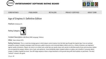 Age of Empires II: Definitive Edition для PC получила рейтинг в ESRB