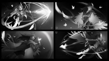 Автор концепт-арта арканы на Windranger показал её с разных ракурсов