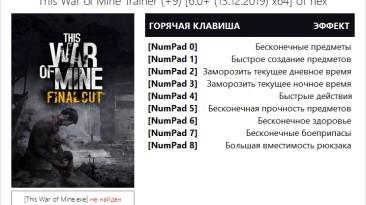 This War of Mine: Трейнер/Trainer (+9) [6.0+ (13.12.2019) Steam/GOG x64] {hex}