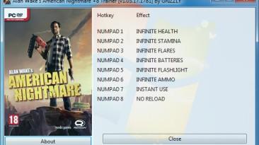 Alan Wake's American Nightmare: Трейнер/Trainer (+8) [1.03.17.1781] {GRIZZLY / PlayGround.ru}