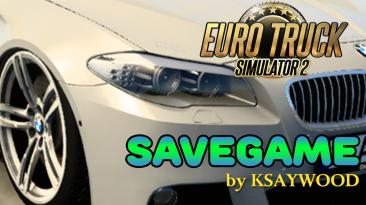 Euro Truck Simulator 2: Сохранение/SaveGame (Начало карьеры в РФ, легковой BMW, максимальный опыт, много денег) [1.40]