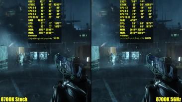 Сравнение частоты кадров - Crysis 3 8700K OC 5GHz Vs 8700K Stock GTX 1080 TI SLI 1440p (DudeRandom84)