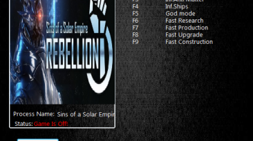 Sins of a Solar Empire Rebellion: Трейнер/Trainer (+8) [1.85] {MrAntiFun}