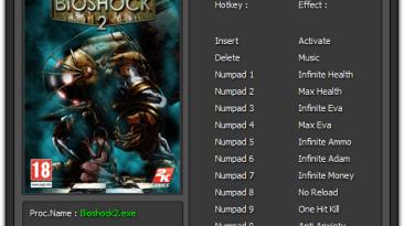 BioShock 2: Трейнер/Trainer (+11) [1.0.0.1 - 1.5.0.019] {Enjoy}