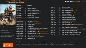 Mount & Blade 2: Bannerlord: Трейнер/Trainer (+19/+22/+25/+27/+30/+32/+33) [EA: 30.03.2020 - 12.06.2021] {FLiNG}
