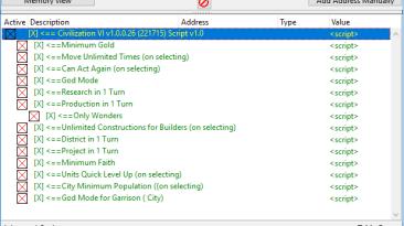 Sid Meier's Civilization 6: Таблица для Cheat Engine [1.0.0.56]