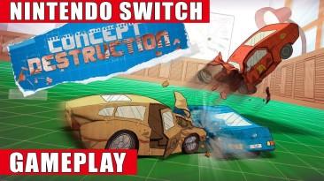 Видео игрового процесса авто-битв на картонных машинках Concept Destruction