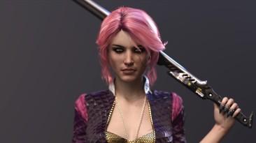 """Цири в образе модной хулиганки на эффектном фан-арте по мотивам """"Ведьмака"""" и Cyberpunk 2077"""
