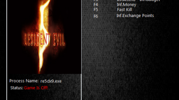 Resident Evil 5: Трейнер/Trainer (+5) [Gold Edition Steam] {MrAntiFun}
