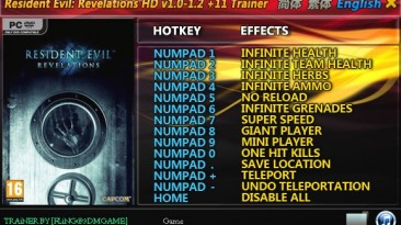 Resident Evil ~ Revelations HD: Трейнер/Trainer (+11) [1.0 ~ Update 2] {FLiNG}