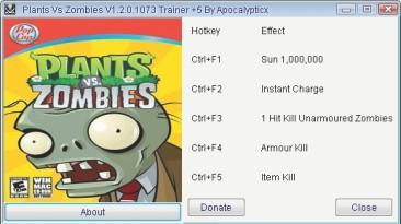 Plants vs Zombies: Трейнер (+5) [1.2.0.1073] {Apocalypticx}
