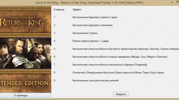 Lord of the Ring - Return of the King: Трейнер/Trainer (+9) {Ded_Mazay1991}