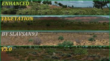 "American Truck Simulator ""Мод Enhanced Vegetation v3.0 by slavsan93"""