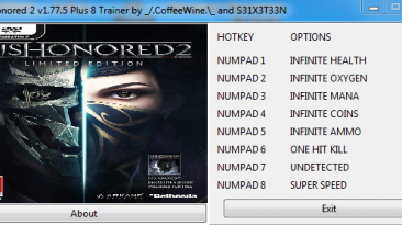 Dishonored 2: Трейнер/Trainer (+8) [1.77.5.0] {_/.CoffeeWine.\_}