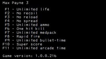 Max Payne 3: Трейнер/Trainer (+11) [1.0.0.216] {LIRW / GHL}