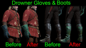 "Witcher 3 ""Перчатки и сапоги из кожи утопца"""
