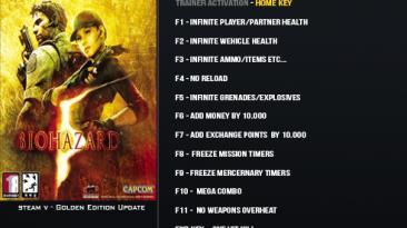Resident Evil 5: Трейнер/Trainer (+15) [Gold Edition] {LinGon}