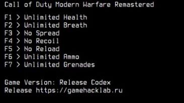 Call of Duty 4: Modern Warfare - Remastered: Трейнер/Trainer (+7) [Codex] {LIRW / GHL}
