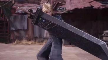 Геймер играет в Final Fantasy 7 Remake, используя реальный контроллер в виде Бастер меча