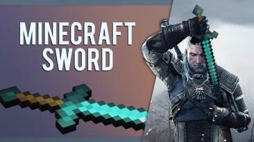 Геральт из Minecraft - моддер добавил в The Witcher 3 алмазный меч