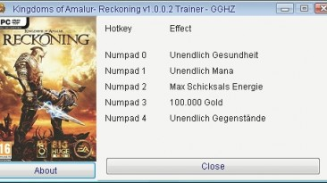 Kingdoms of Amalur - Reckoning: Трейнер/Trainer (+5) [1.0.0.2] {GGHZ}