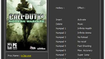 Call of Duty 4: Трейнер/Trainer (+8) [1.7] {Enjoy}
