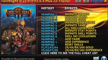 Torchlight 2: Трейнер/Trainer (+22) [1.9.5.1/1.11.5.1/1.11.5.3] {FLiNG}