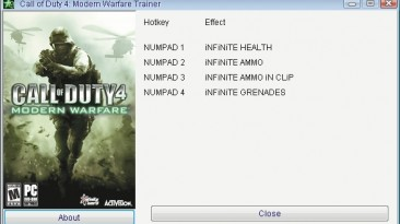 Call of Duty 4 - Modern Warfare: Трейнер/Trainer (+4) [1.7] {GRIZZLY/PlayGround.ru}