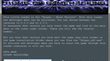Sniper ~ Ghost Warrior: Dev. Menu Loader / Меню Разработчиков [1.0.0.0 ~ 1.3.0.0: SE & GE] {sILeNt heLLsCrEAm / HoG}