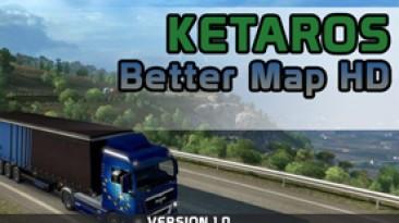 """Euro Truck Simulator 2 """"Мод Better Maps HD версия 1.0 (v1.4.x, - 1.35.x)"""""""