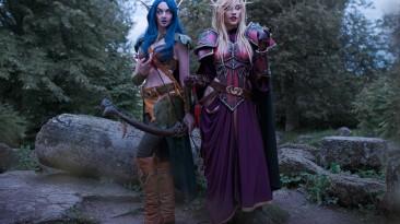 Внезапная встреча ночной эльфийки и эльфа крови, косплей на персонажей World of Warcraft