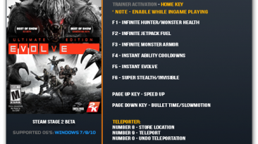 Evolve: Трейнер/Trainer (+10) [Update 14.07.16] {LinGon}
