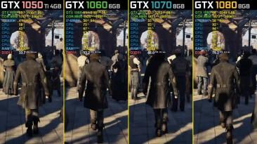 Assassin's Creed: Syndicate - GTX 1050 Ti vs. GTX 1060 vs. GTX 1070 vs. GTX 1080