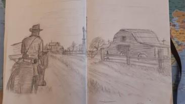 Игрок в Red Dead Redemption 2 делает зарисовки в стиле главного героя